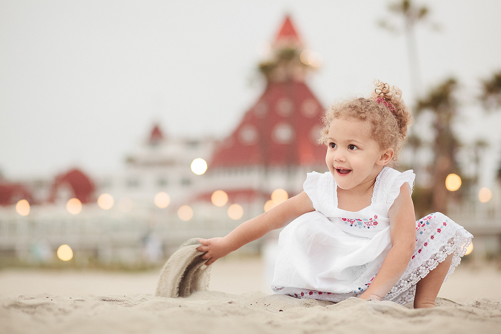 Toddler Playing in Sand | San Diego Beach Portraits