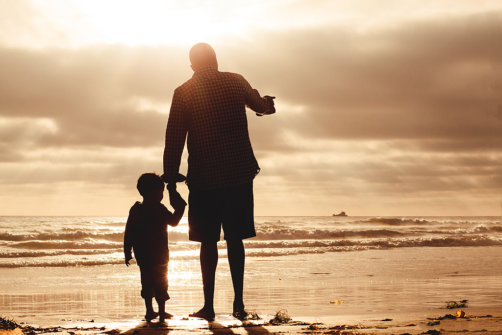 Daddy and Me Silhouettes | San Diego Beach Photography