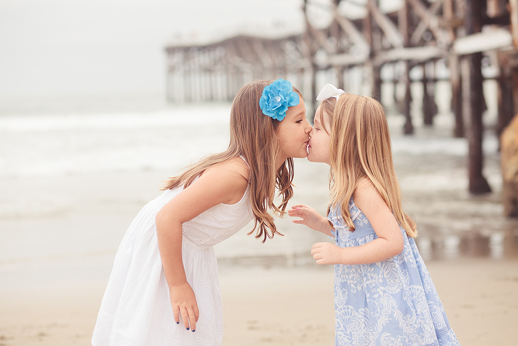 Sisters Kissing | San Diego Child Photographer