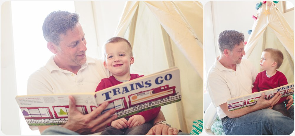 Dad Reading to Son | San Diego Family Photography