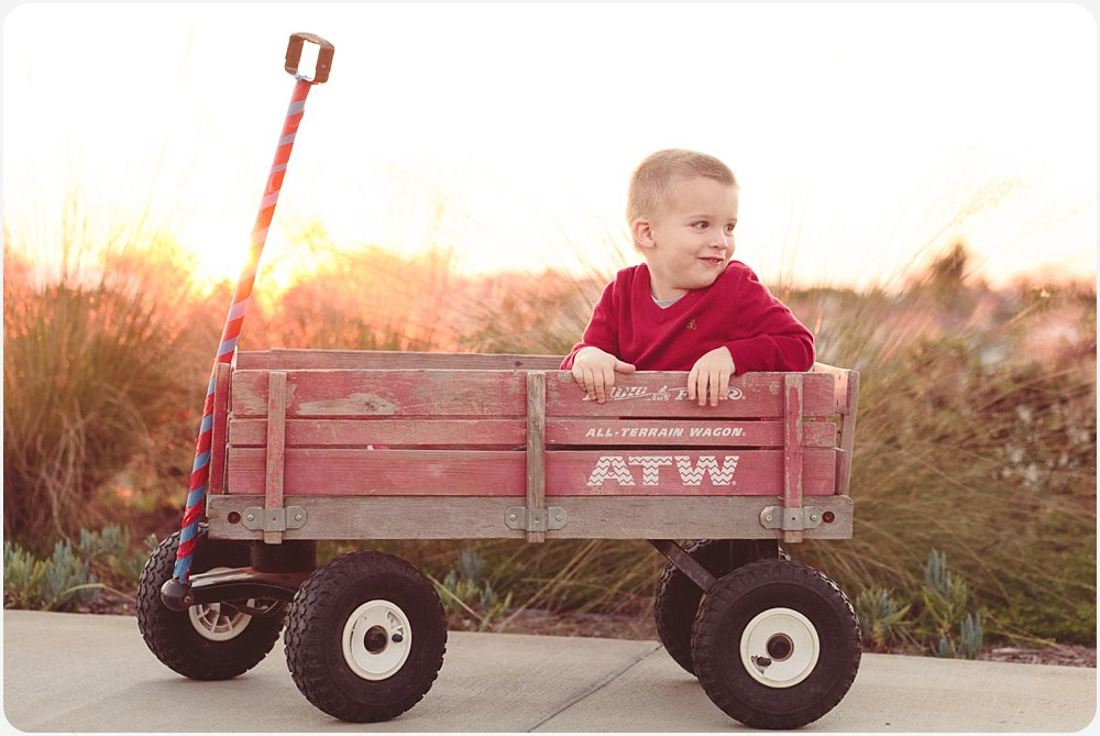 Boy in Wagon | San Diego Natural Light Photographer