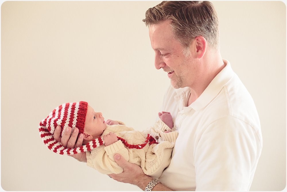Dad with Newborn at Christmas | San Diego Family Photography