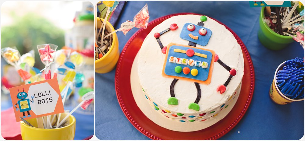Robot Birthday Cake | San Diego Birthday Party Photography