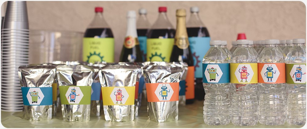 Robot Drink Wraps | San Diego Birthday Party Photography