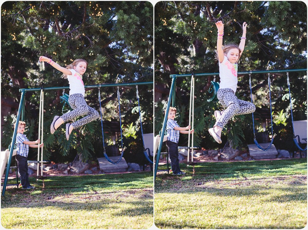 Jumping Out of a Swing | San Diego Birthday Party Photography