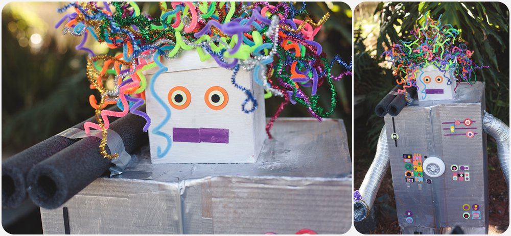 Cardboard Box Robot | San Diego Birthday Party Photography