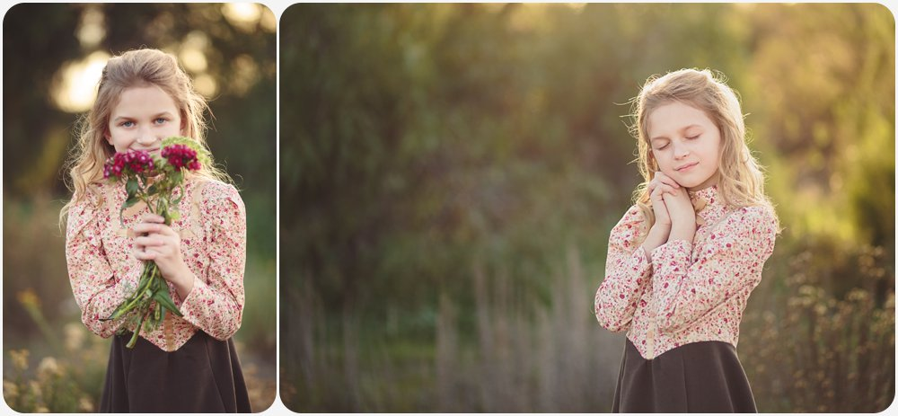 Vintage Dress Little Girl in Field | San Diego Photography