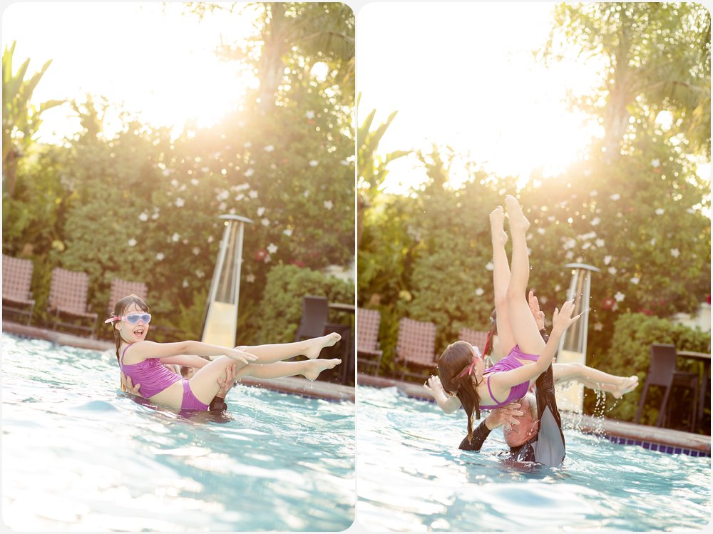 Swimming at a Hotel | San Diego Family Photography