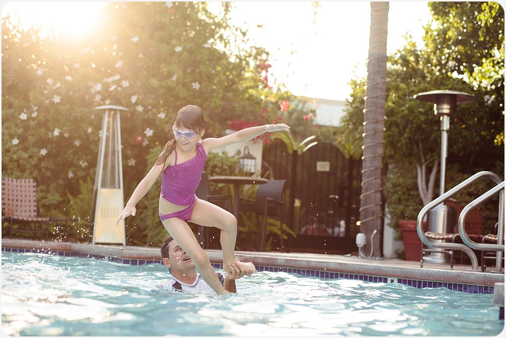 Swimming at the Hotel | San Diego Family Photography
