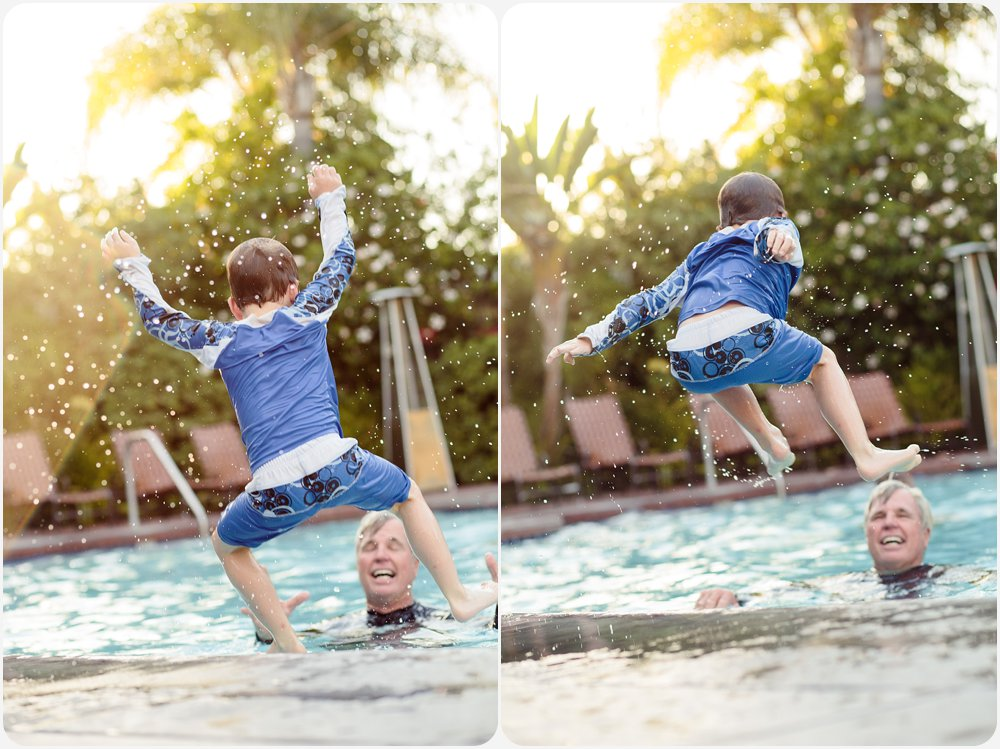 Swimming at Sunset | San Diego Family Photographer