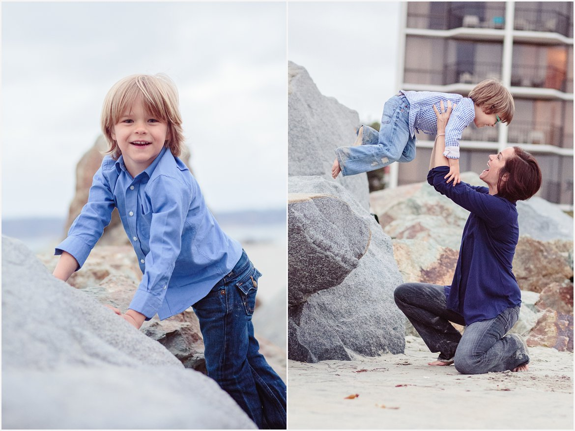 Playing on the Rocks | San Diego Beach Photography