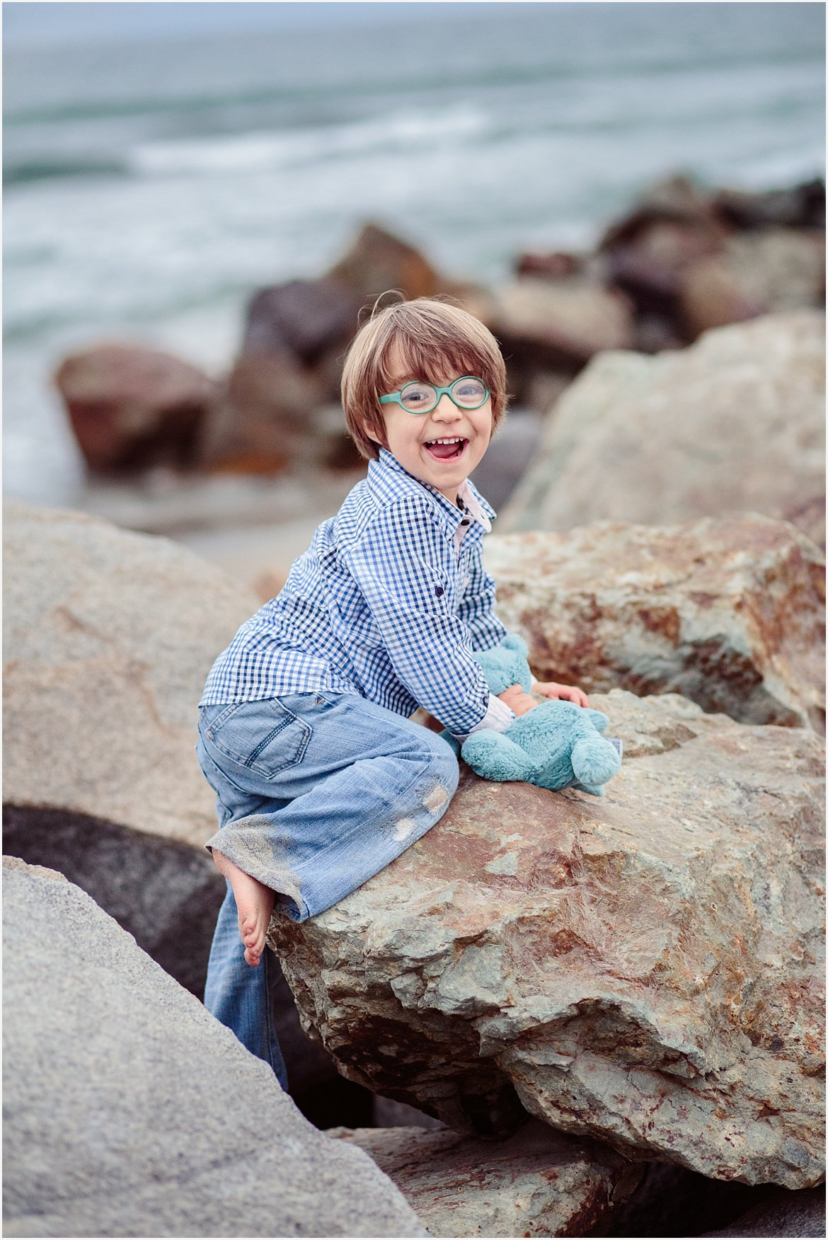 Child on the Rocks | San Diego Beach Photography