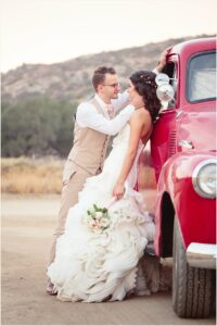 Wedding Photos with a Red Truck
