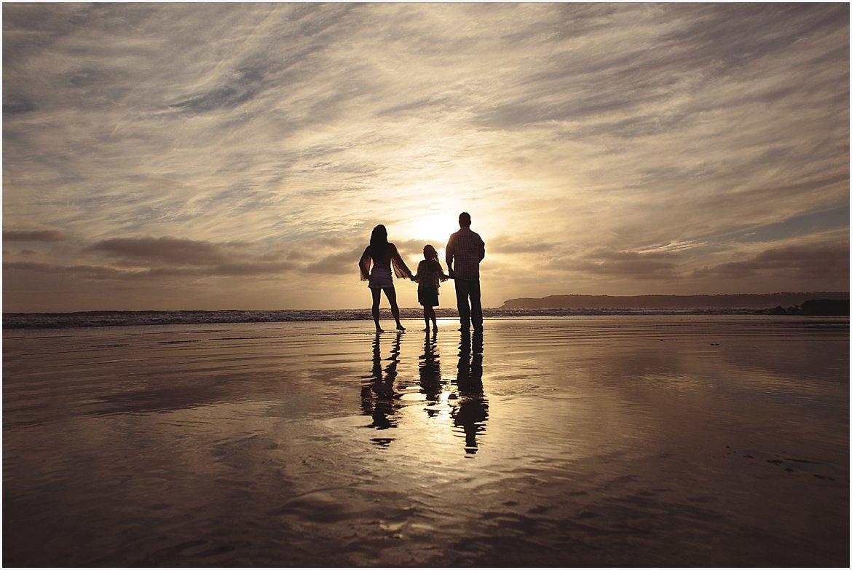 Silhouetted Family | San Diego Beach Photographer