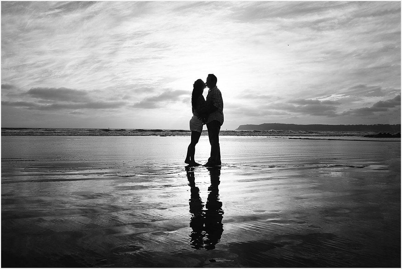 Silhouetted Couple | San Diego Beach Photographer
