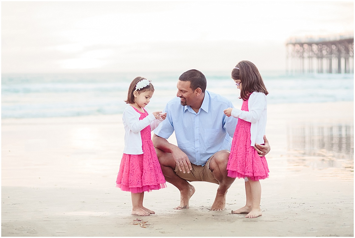 Dad and Daughters | San Diego Beach Photography