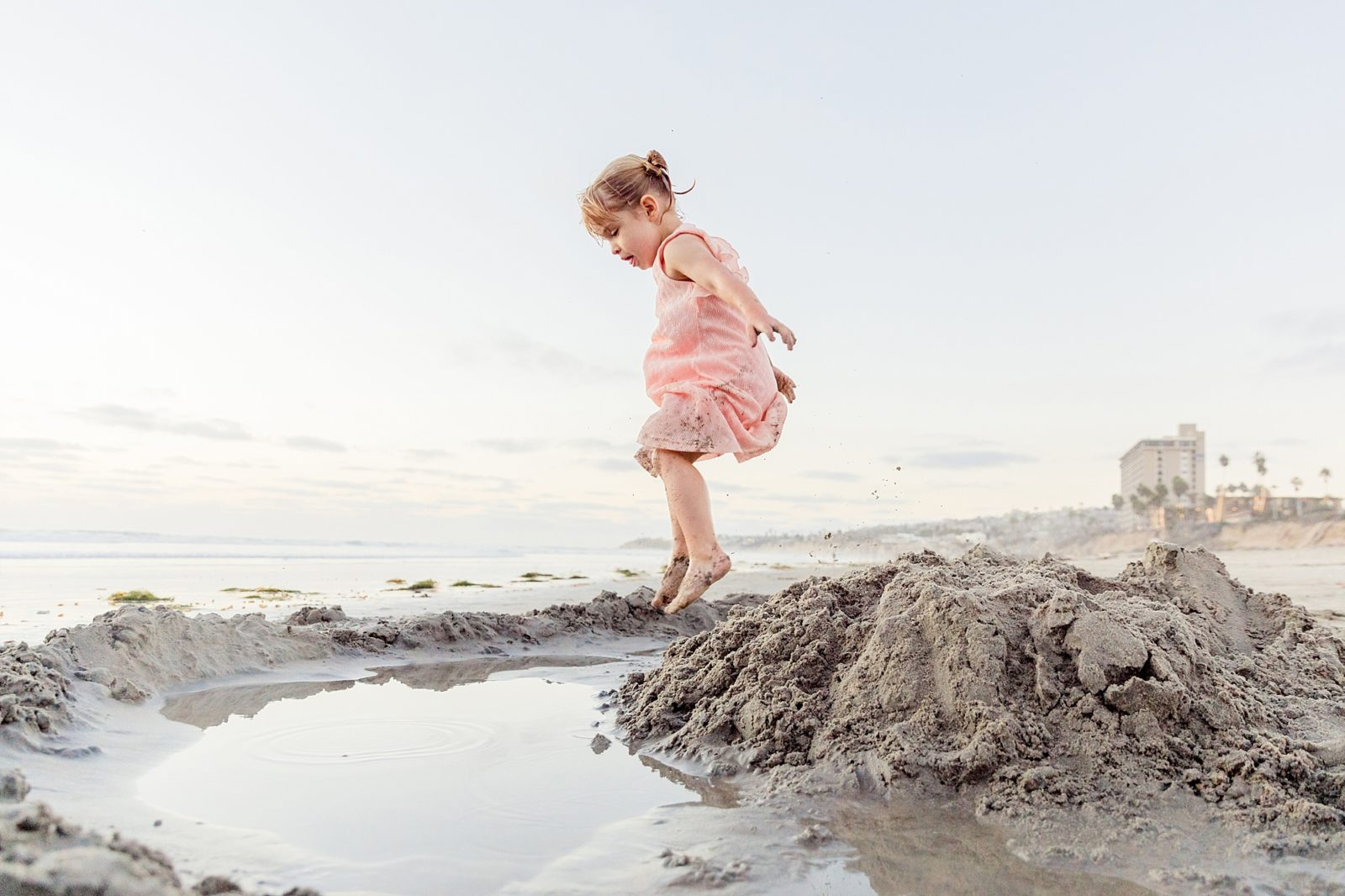 Little Girl Playing on the Beach | Amy Gray Photography