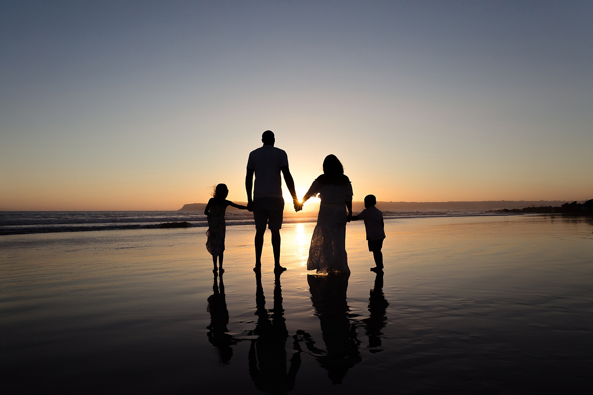 Sunset Silhouette Family | San Diego Photographers