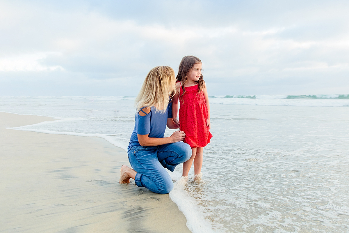 Family Memories on the Beach | Little Girls Red Dress