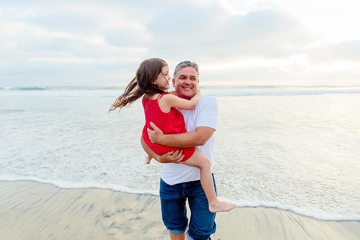 Family Memories on the Beach   Little Girls Red Dress