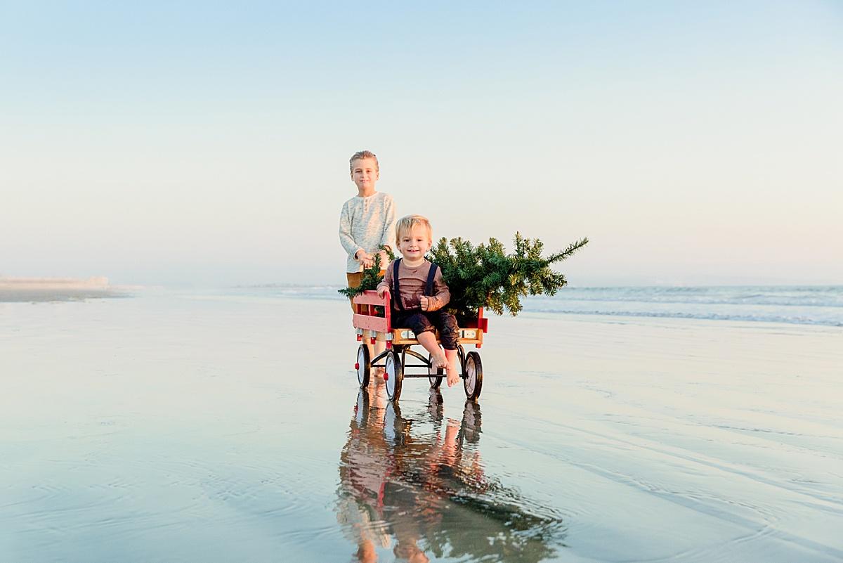 Little Boys on the Beach Christmas Photos