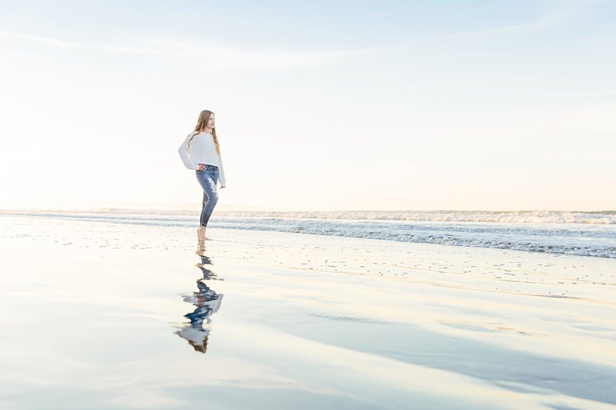 Senior Portrait on the Beach | Reflection