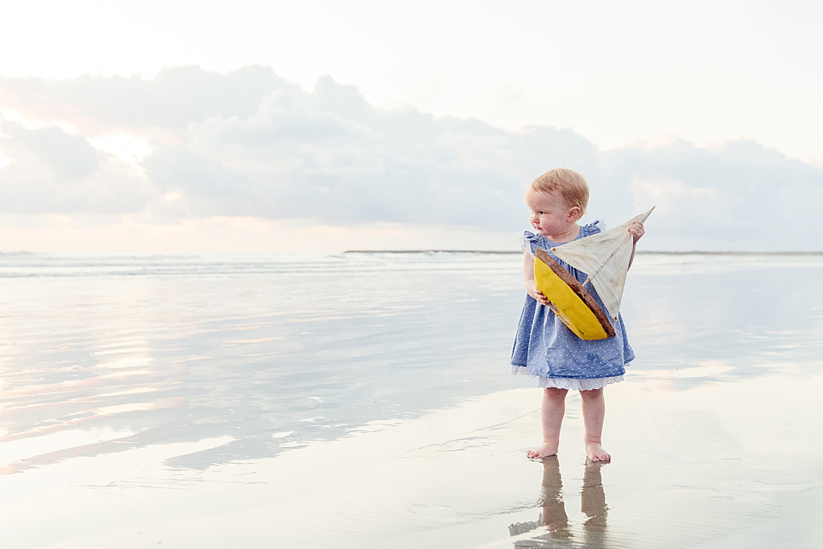 Sailing a Boat | Toddler Photo on the Beach