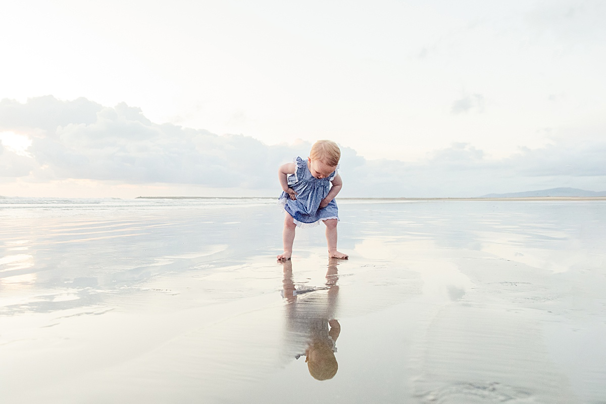 Toddler on the Beach | Mirror Reflection