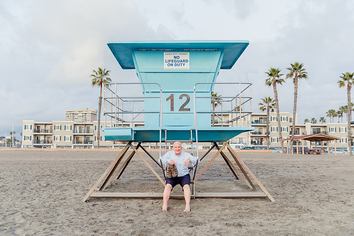 Grandpa on the Lifeguard Tower in Oceanside San Diego