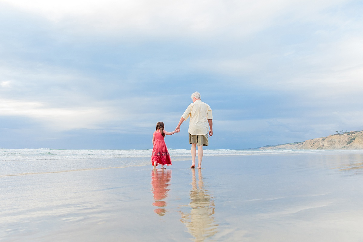 Grandpa and child on the beach