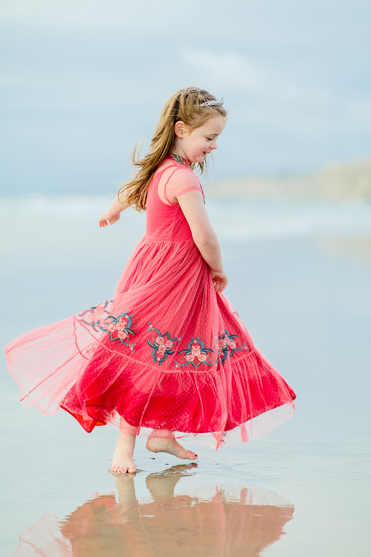 Spinning dress on the beach