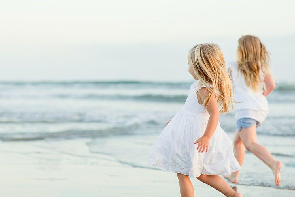 Little Girls Running on the Beach