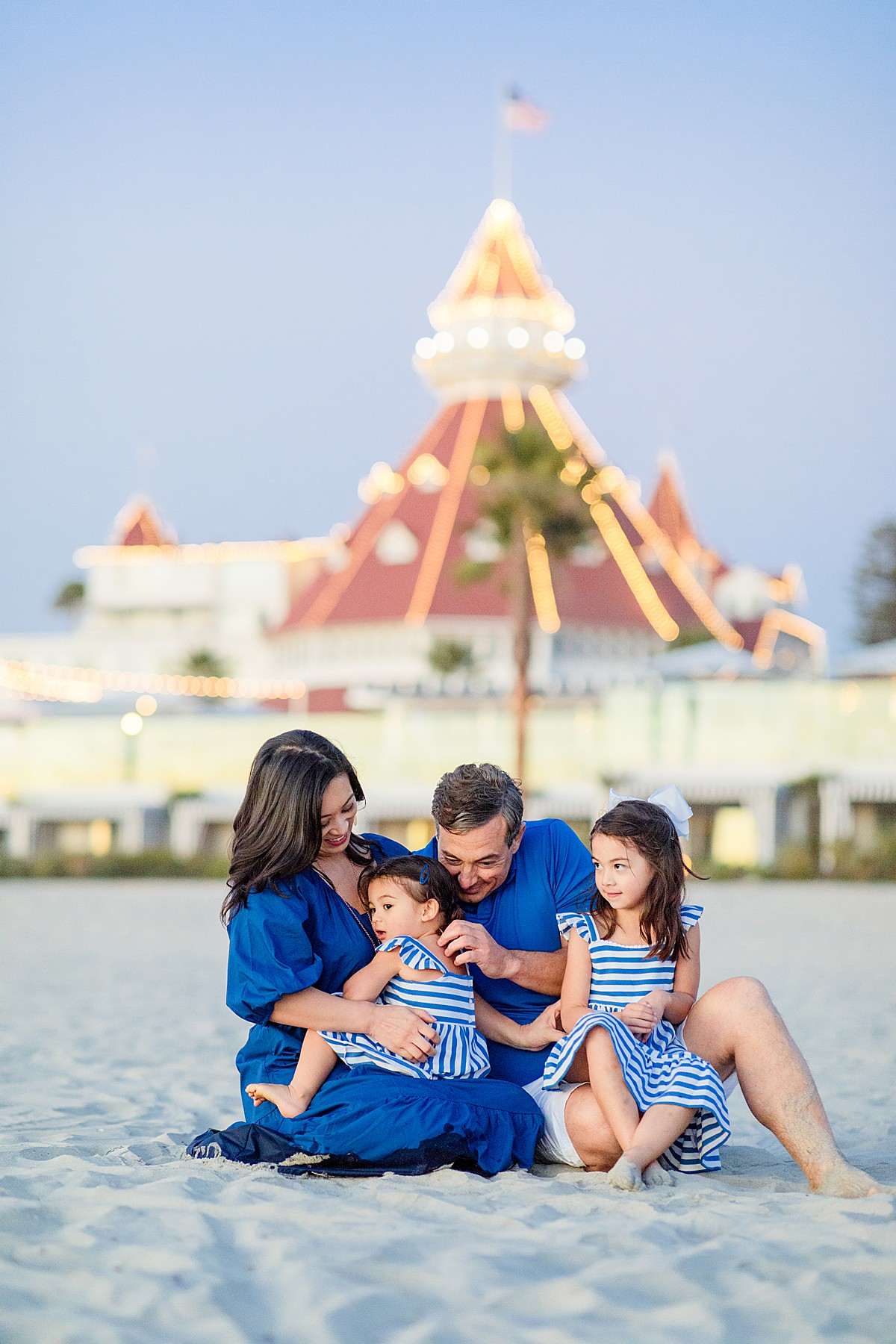 Family in front of the Hotel del Coronado